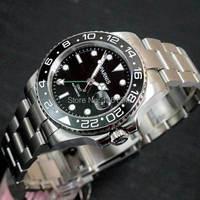 40mm Parnis cadran noir verre de Saphir En Céramique lunette GMT date automatique mens montre 120
