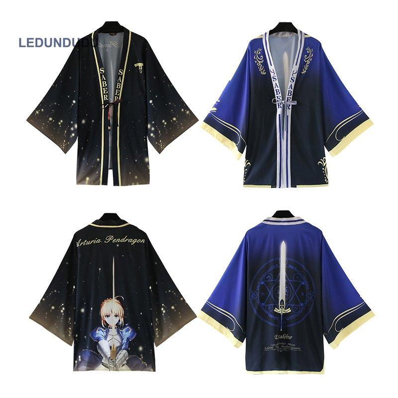 Fate/stay night Bathrobes Chiffon Pajamas Cloaks Fate Zero Arturia Pendragon Cosplay Costumes Saber Yukata Coat Casual Tops