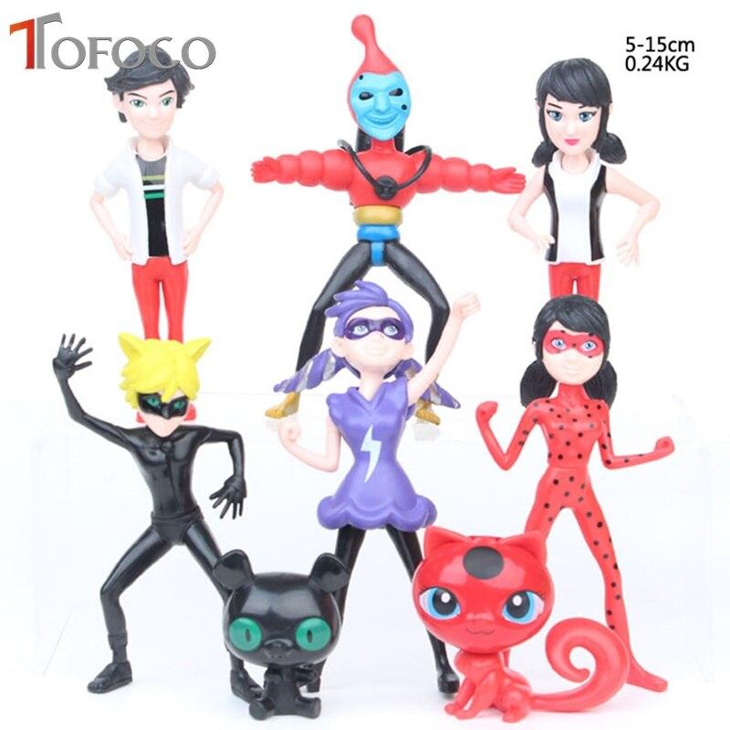 TOFOCO 8Pcs/set Miraculous Ladybug Action Figure Dolls Toy Tales Of Cat Noir Model Toy Lady Bug Adrien Marinette Adrien Plast