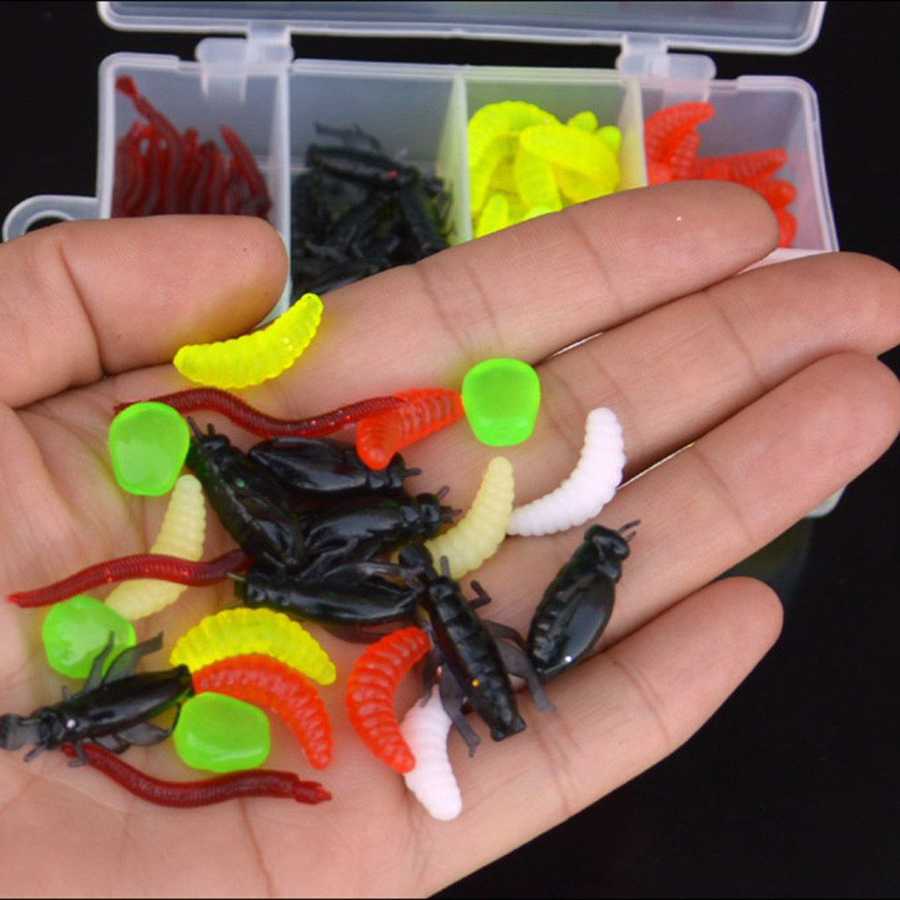 Soft Worm Lure Lure Set Head Jig Hooks Fishing Baits Set Tackle