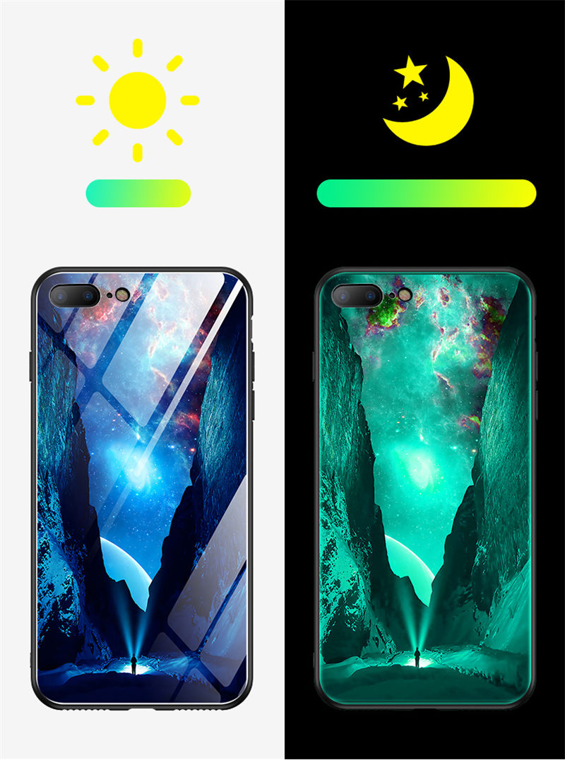 HTB1zCNpXUrrK1RkSne1q6ArVVXaK Luminous Tempered Glass Case For iPhone 5 5S SE 6 6S 7 8 Plus Case Back Cover For iPhone X XR XS 11 Pro Max Case Cover Cell Bag