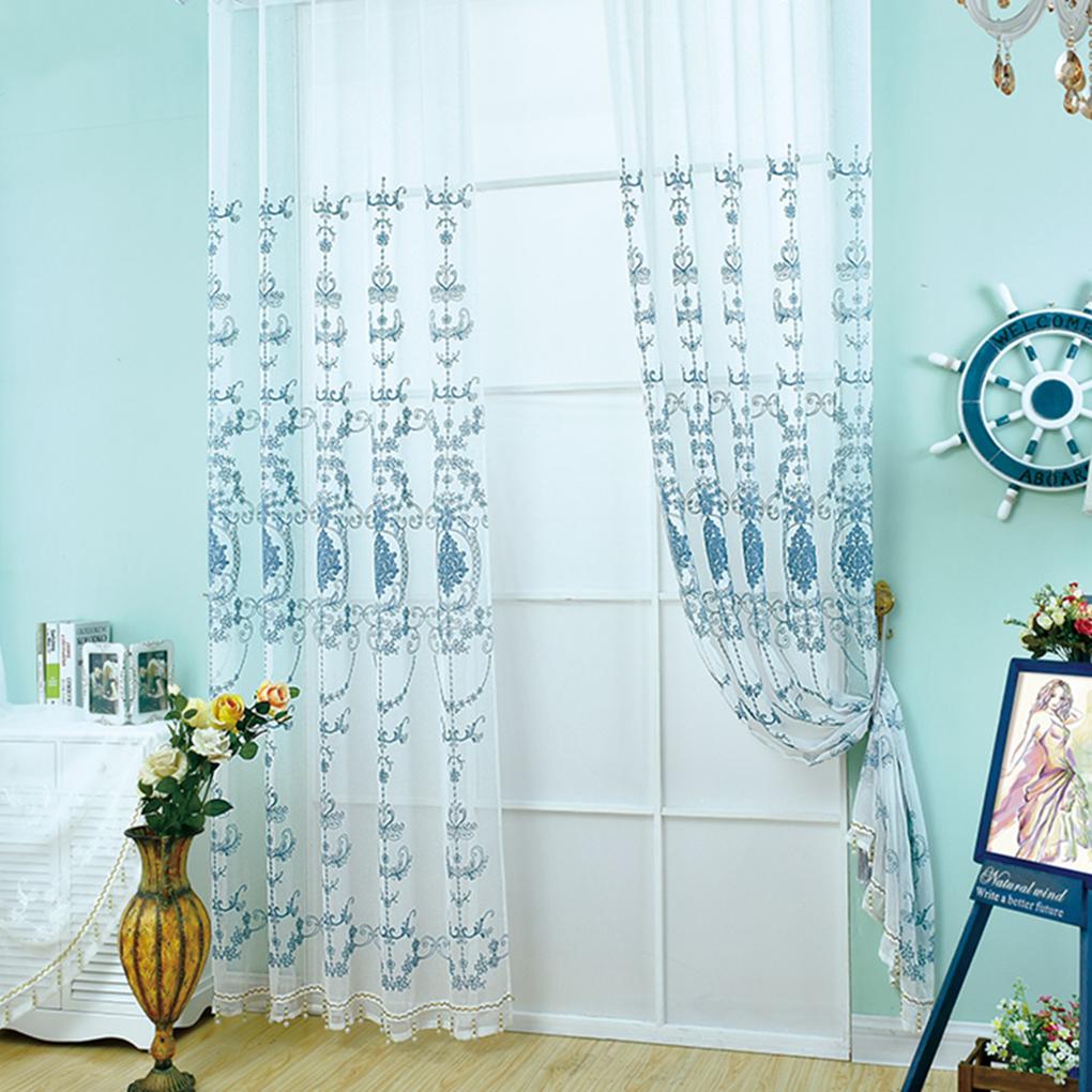 bordado de gasa bordada cortina escarpada panel para puerta corredera de cristal sala de estar decoracin