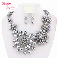 Fashion Pearl Necklace Set African Beads Costume Bridal Jewelry Sets Pearl Jewelry Set Crystal Necklace W6843