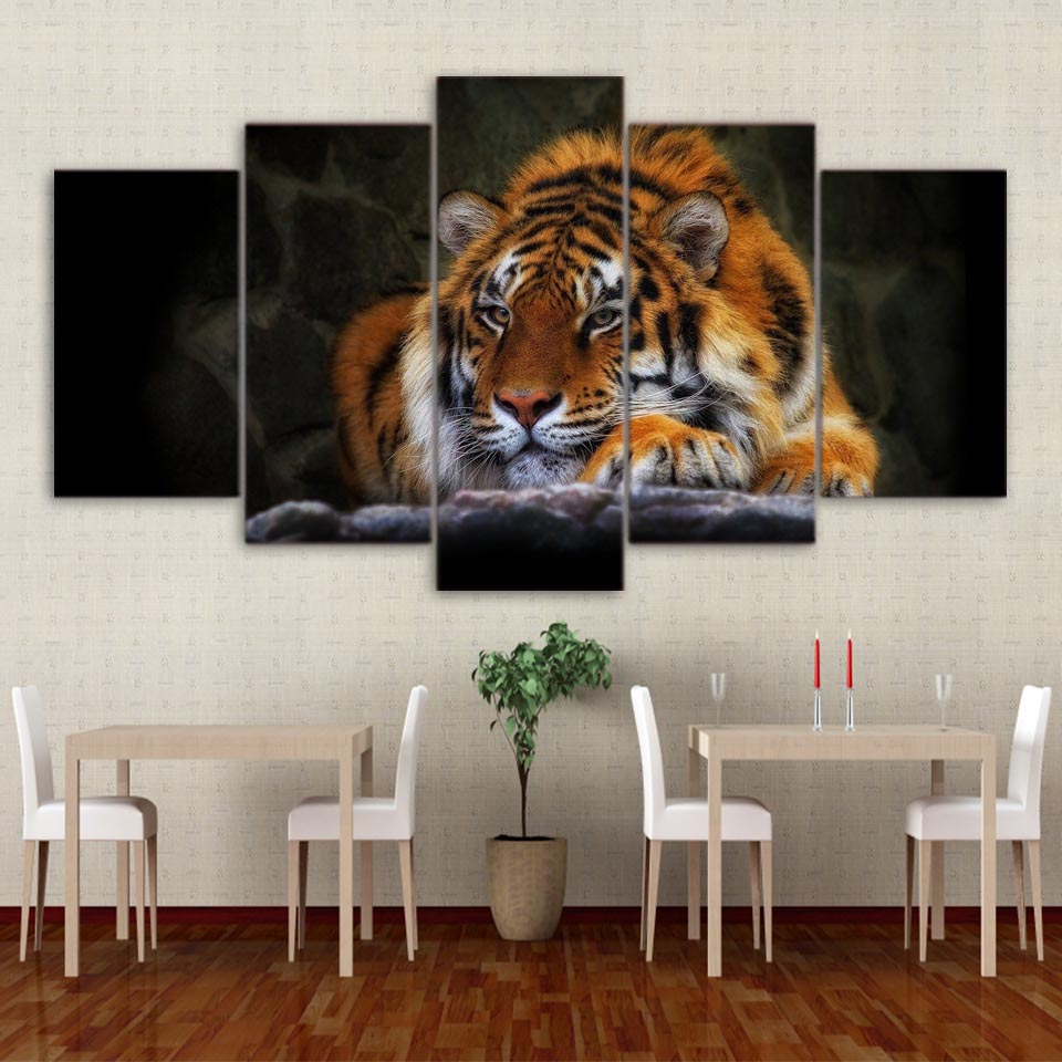 Decoration Posters Picture On Canvas Wall Art 5 Panel Animal Tiger Modular Home Framework Living Room HD Print Modern Painting|picture on canvas|modern paintingshd prints - AliExpress