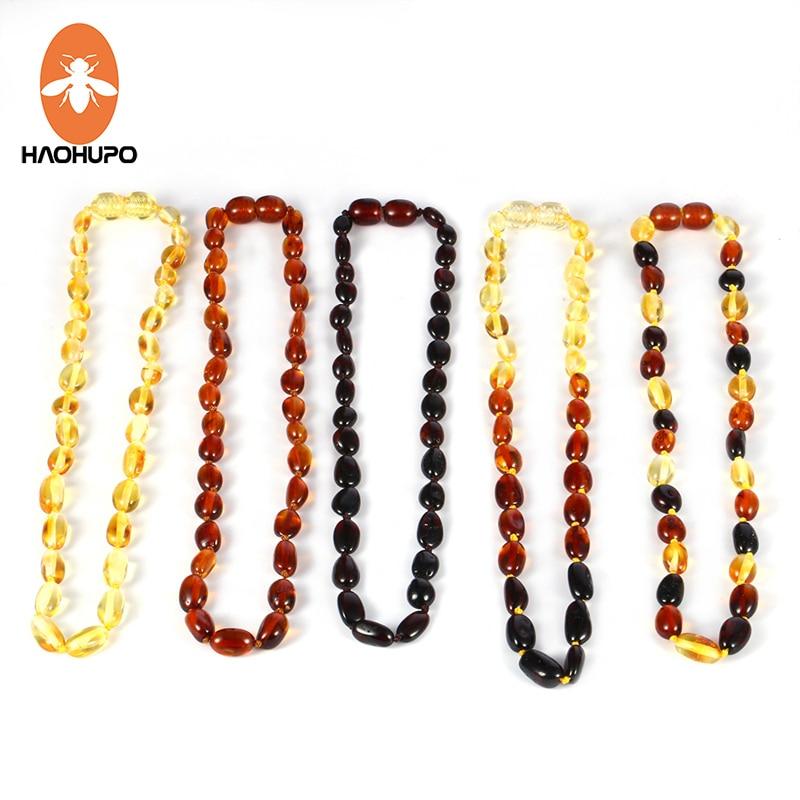 HAOHUPO բնական սաթ մանյակ մանուկների համար բարոկկո բալթյան լոբի Amber beads զարդեր Բնական քարե օձիք զարդեղենի մատակարար 5 գույն