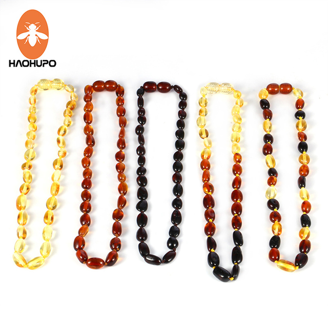 HAOHUPO Natural Amber Necklace for Baby Baroque Baltic Bean Amber Beads Jewelry