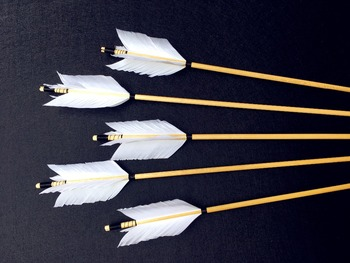 6/12/24PK  high quality wooden arrow white feather real archery hunting recurve bow 2