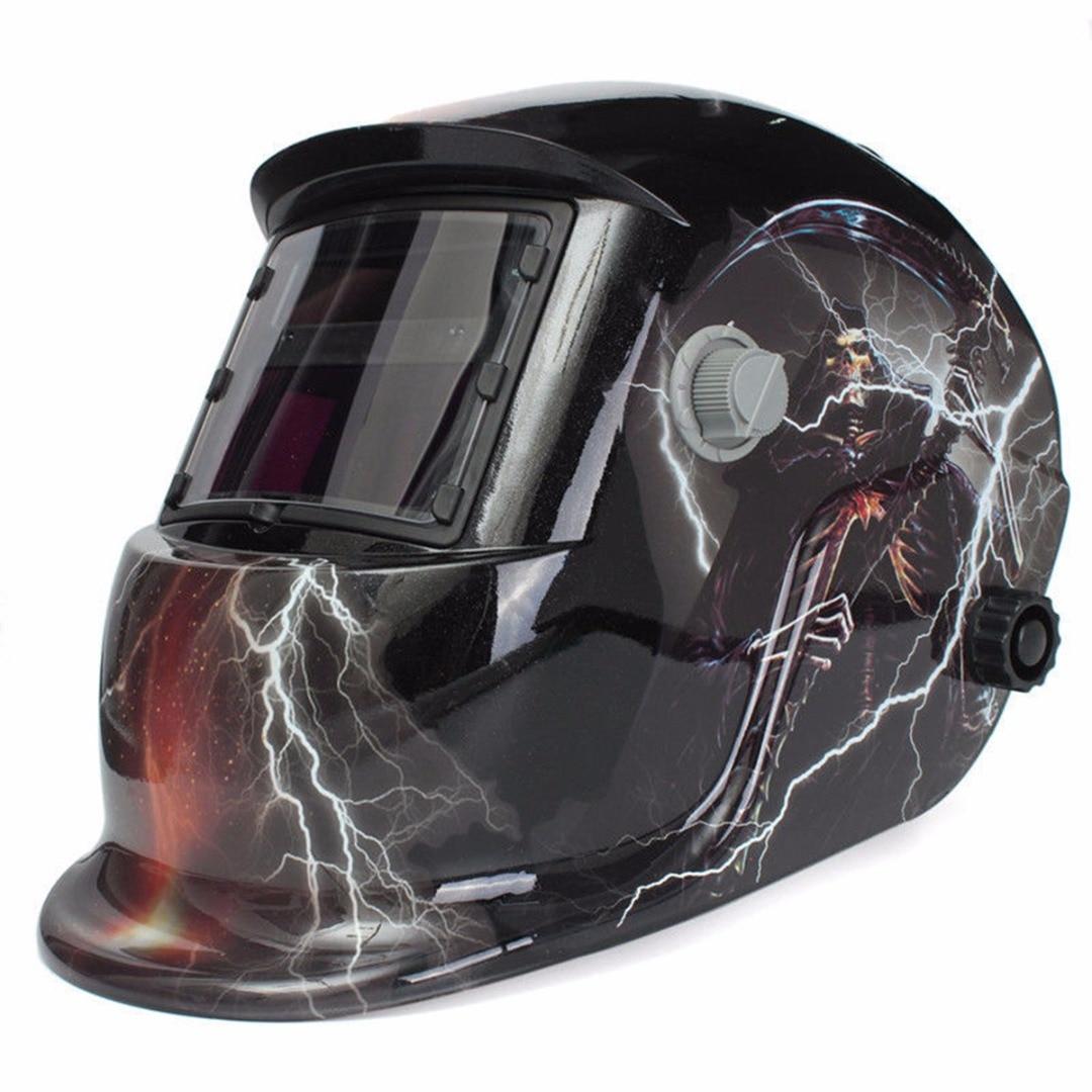 1pc Skull Ghost Lightning Pro Solar Auto-Darkening Welding Mask Helmet MIG Protective Grinding Welding Mode Welding Helmet protective outdoor war game military skull half face shield mask black