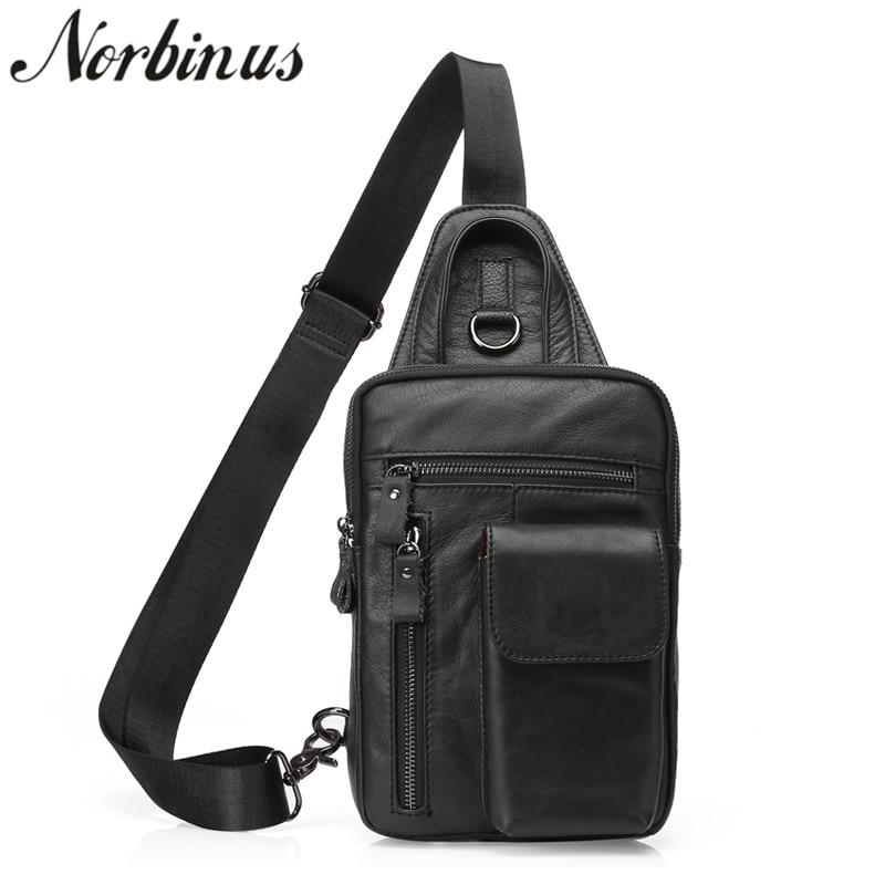Norbinus Real Cowhide Men Chest Bag Genuine Leather Single Shoulder Bag Male Travel Sling Belt Packs