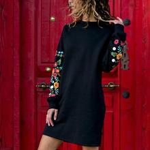 Winter Women O Neck Flower Decoration Long Sleeve Mini Sweatshirt Dress Fashion Autumn Female Clothes Casual Black Femme
