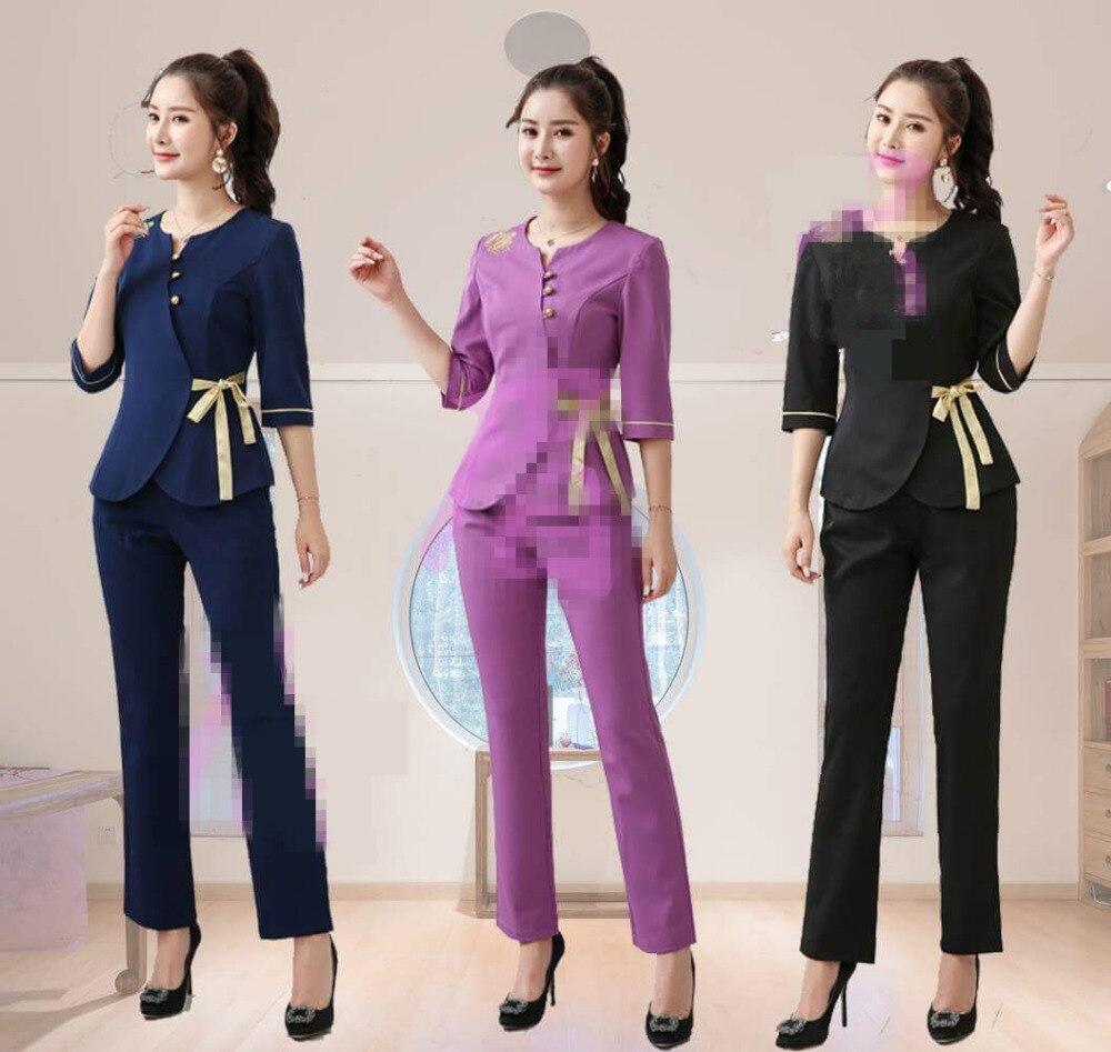 SPA Workwear Overalls Blue And Black Massage Work Uniform Sets Female Hospital Nurse Uniforms Wholesales Beauty Clothing