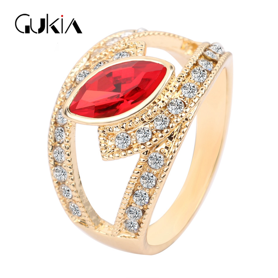 New Beautiful Wedding Ring 2016 Top Fashion Jewelry Gold Colour Crystal  Rings For Women Love Engagement