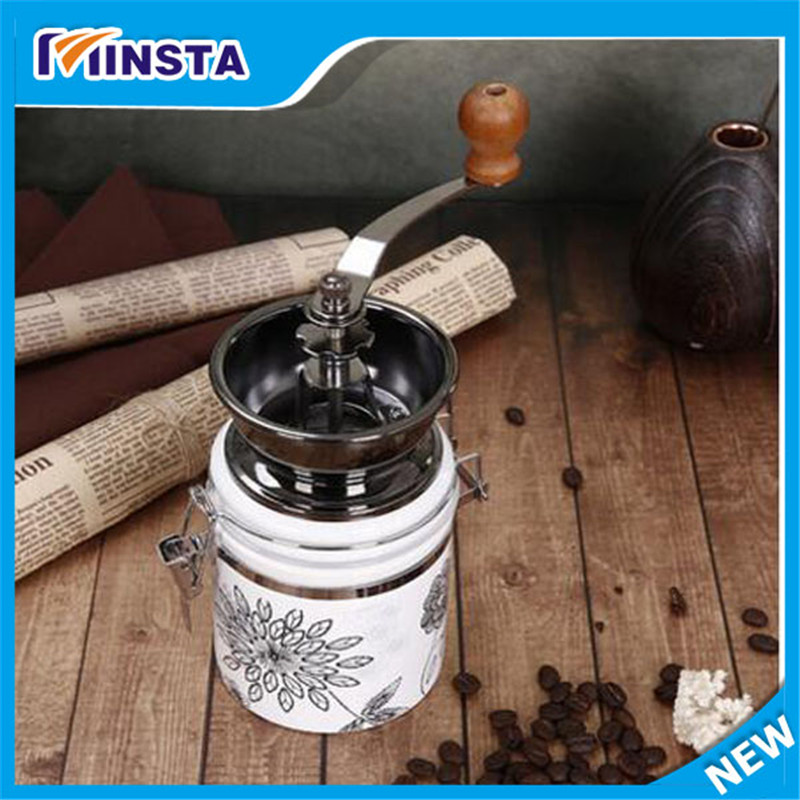 ФОТО brand new antique Mini Manual Coffee Mill  Stand Bowl Antique Hand Coffee Bean Grinder