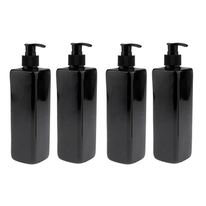 Image 5 - 4pcs 500mL Refillable Empty Bottles For Makeup Lotion Pump Bottles Shampoo Container Dispenser Black