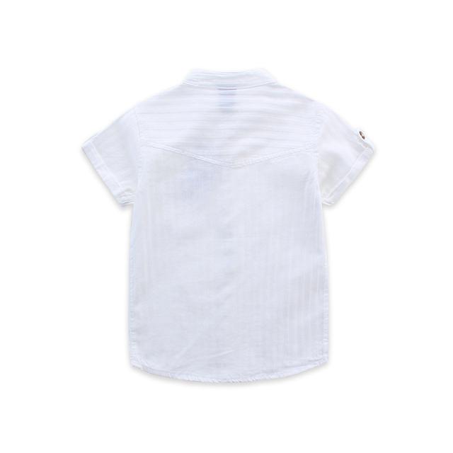 Boys' Short Sleeved White Cotton Shirt