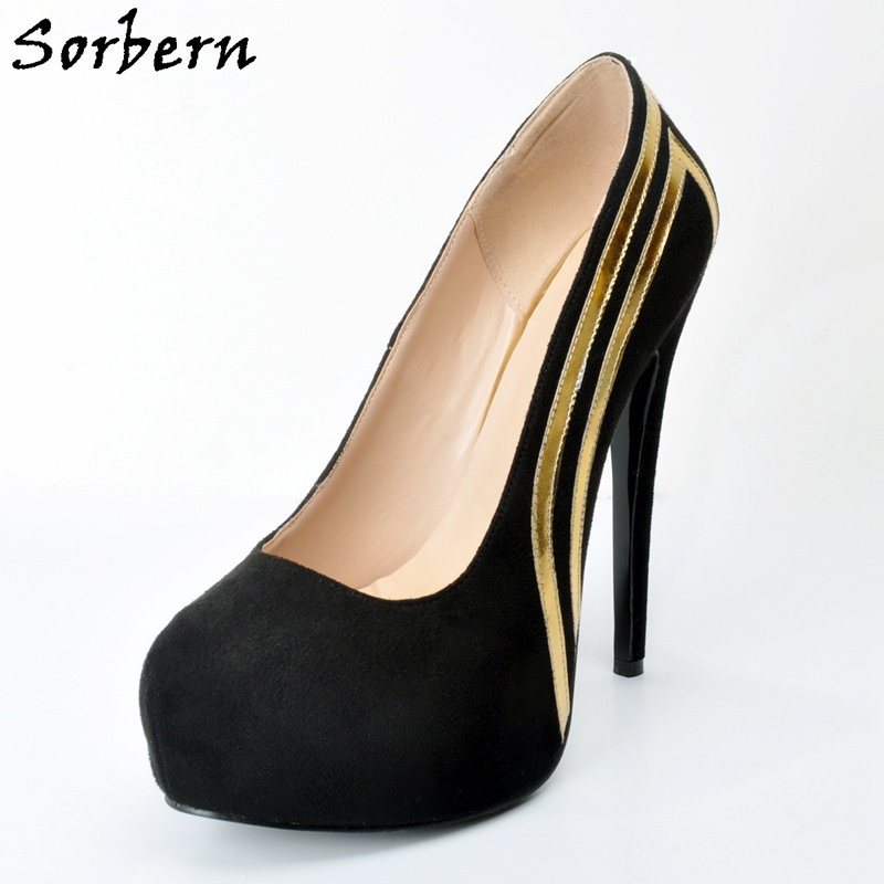 Sorbern Black With Gold Women'S Shoes Fetish High Heels Sapatos Femininos Custom Platform Heels Big Size 12 Salto Alto Feminino мужской ремень cintos femininos h h037 hyl2 cinto feminino