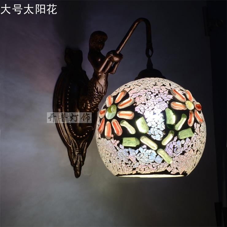 Mediterranean Tiffany Mermaid Wall Lamp AC 110/220V E27 25cm Wall Lamps for Home Corridor Bedroom цена 2017
