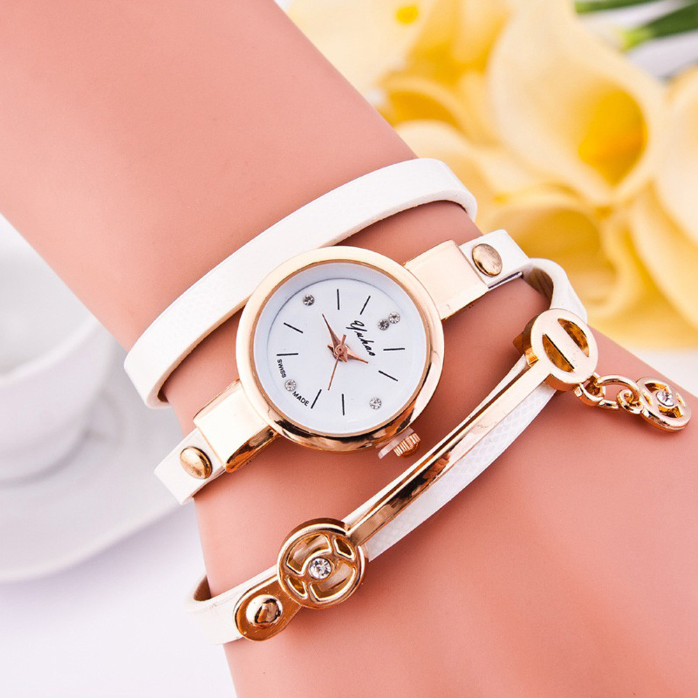 Feitong 2017 Fashion Casual Dress Watches For Women Lady Bracelet Watches Pu Leather Quartz