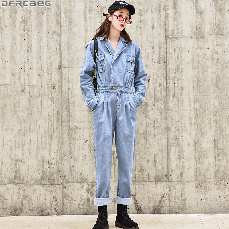 Fashion Streetwear Jeans   Jumpsuit   For Women Loose Vintage Ladies Denim Overalls Elastic Waist Long Sleeve Blue Romper Trousers