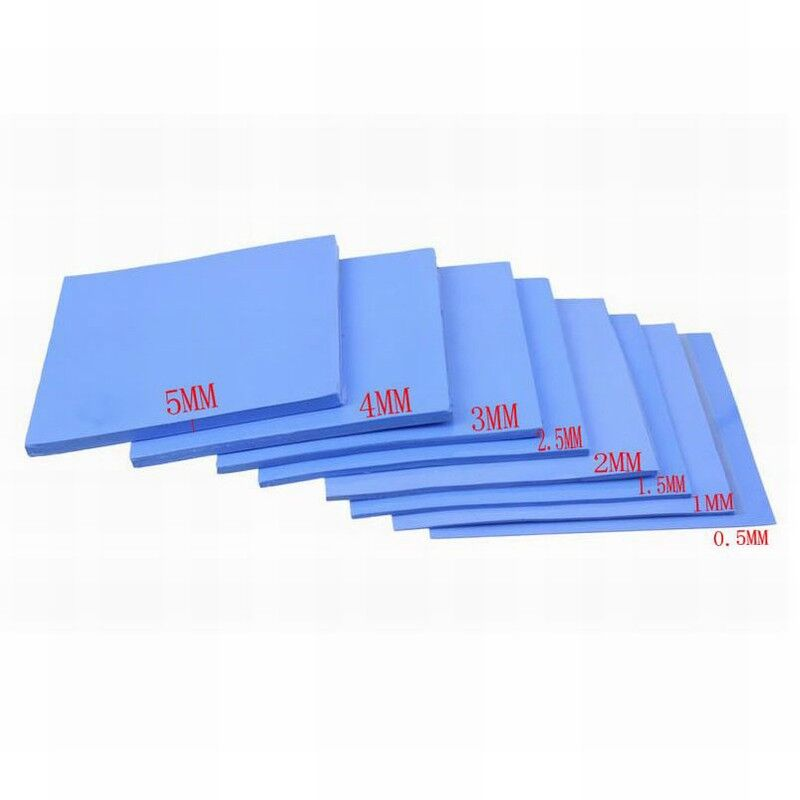 8pcs/lot Gdstime 100x100x0.5mm 1mm 1.5mm 2mm 2.5mm 3mm 4mm 5mm Blue White Combination Thermal Pads Cooling Conductive Silicone