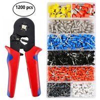 1SET 1200pcs Terminal Wire Connectors & 175mm Crimping Plier Kit Wire Ferrule Crimp Tool
