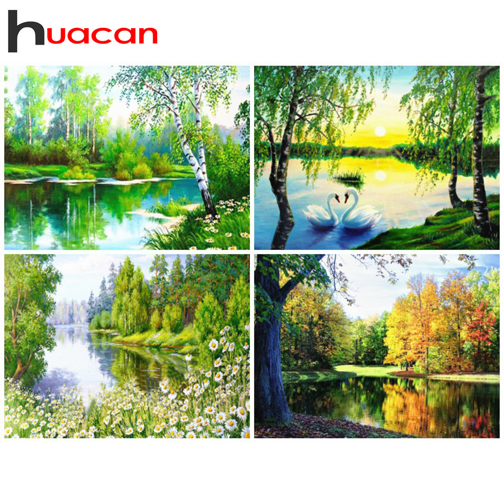 Huacan 5D Diamond Painting Landscape Rhinestones Pictures Mosaic Full Drill Square Scenery Sunset Diamond Embroidery Wall Decor