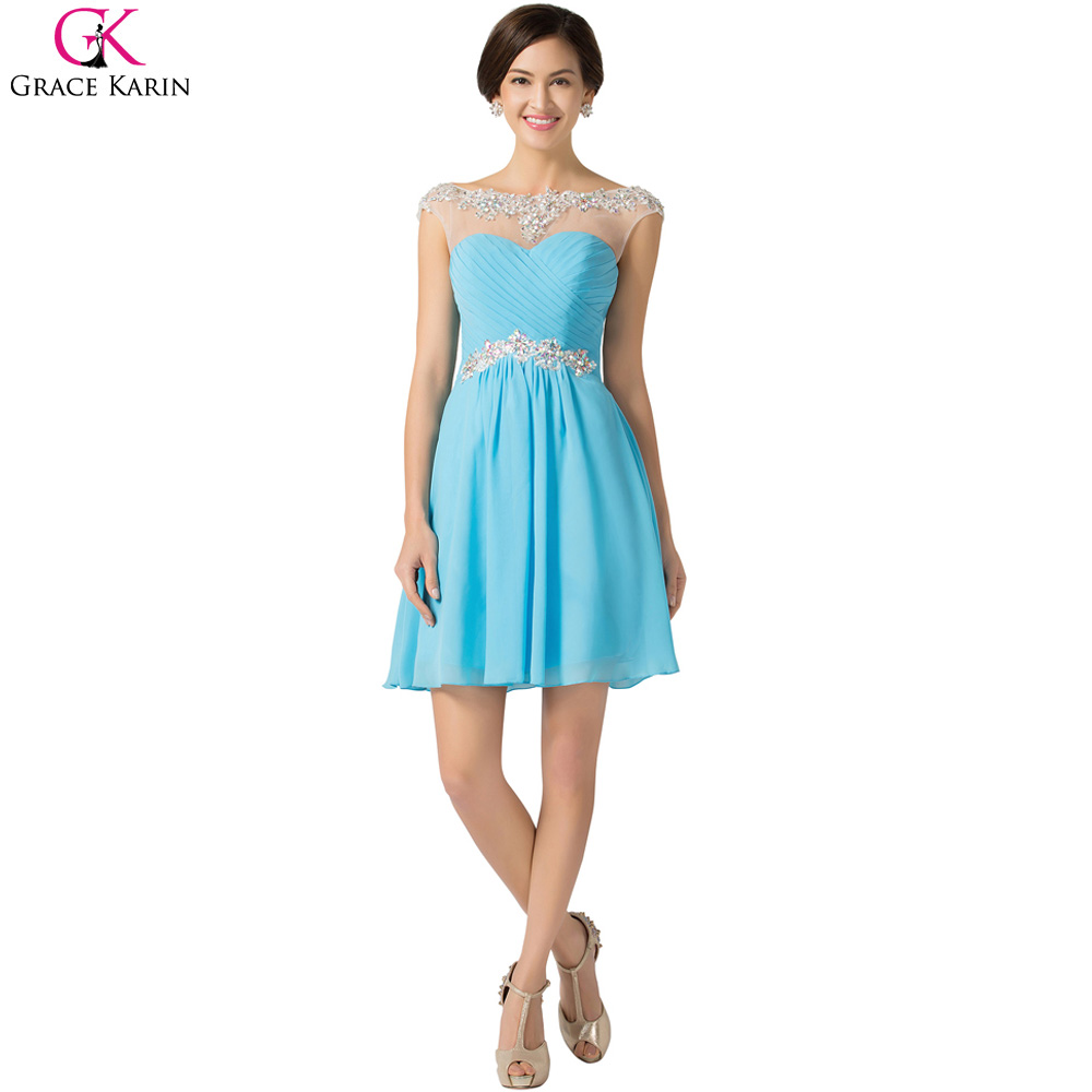 Purple Prom Dresses Grace Karin Blue Violet Lace Chiffon Short ...