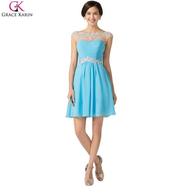 020637565fa61 Purple Prom Dresses Grace Karin Blue Violet Lace Chiffon Short Formal Gowns  2017 Cheap Rhinestone Prom Party Dress Vestido Baile