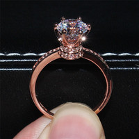 2016 NEW design Fashion Jewelry Luxury Women Engagement ring 925 Sterling silver& Rose Gold filled crown 5A Zircon Wedding Rings