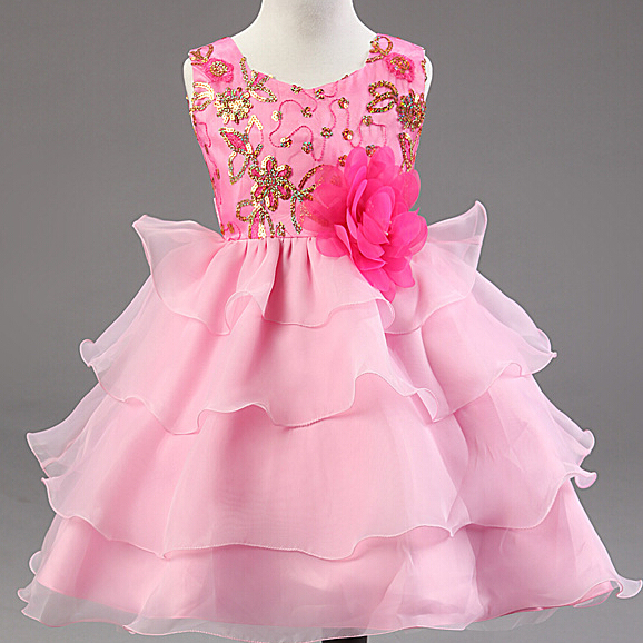 Children Dresses S Princess Party Evening Long Pink Dress Beautiful Flower Baby