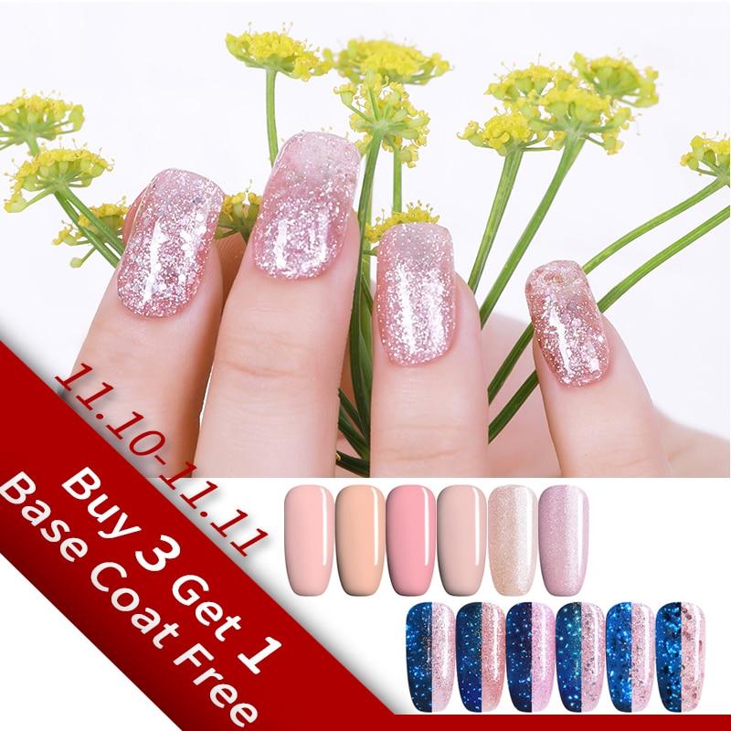 UR SUGAR Luminous Fluorescent Nail Gel Polish Rose Gold Pink Glitter Flakes Color Change UV LED 7.5ml Nail Art Varnish Lacquer