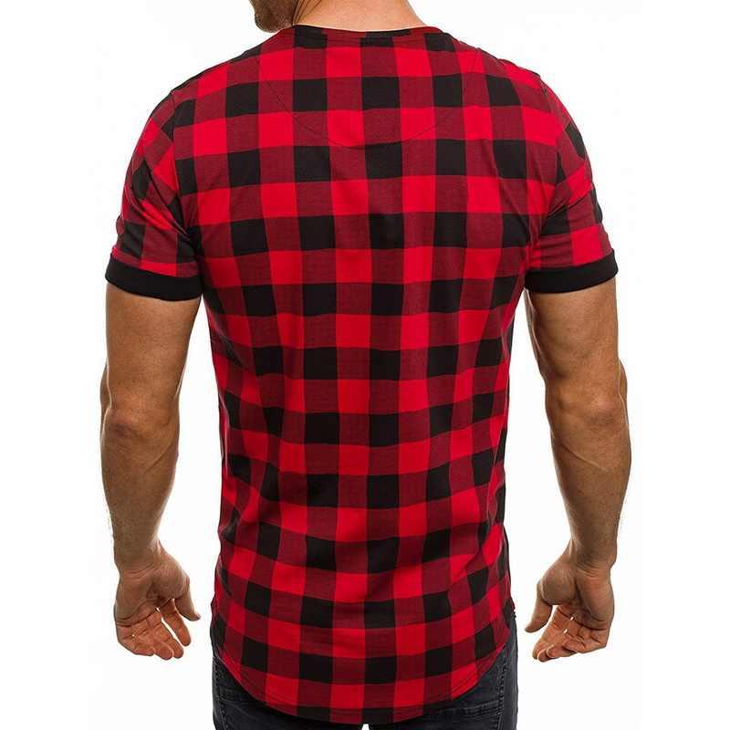 Wenyujh 2019 赤と白のチェック柄男性シャツ勾配夏ファッションシュミーズオムメンズ市松シャツ半袖男性ブラウス