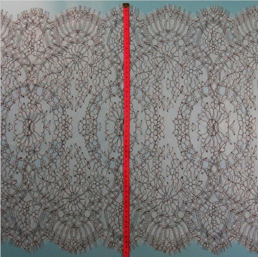 51 cm x 300 cm 얇은 가벼운 유리한 프랑스 샹 티이 레이스 트림 블랙 테두리 패션 끈으로 묶은 레이스 트림 최고 등급 품질-에서레이스부터 홈 & 가든 의  그룹 2
