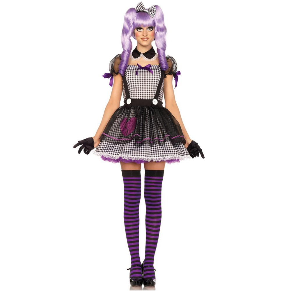 New Chic Black Lace Fancy Party Dress Halloween Women Girls Funny Joker Circus Clown Cosplay Costume Purple Fantasy Dress