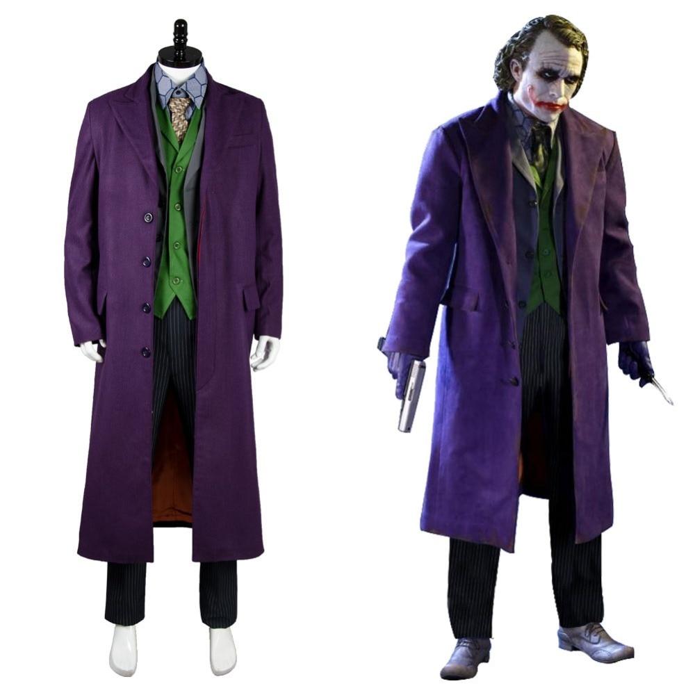 Adulte Hommes Batman Dark Knight Joker 6 pcs Cosplay Costume Ensemble Gabardine trench Version Pour Halloween Carnaval Party Ensembles