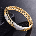 GULICX Vintage Pattern Hollow Angle Bangle for Women  Gold Platinum Plated Bracelet White CZ Zirconia Wedding Jewelry Z035