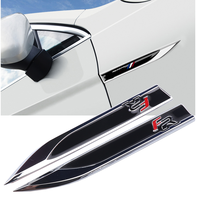 2PCS/set Zinc Alloy FR Logo Emblem Badge Decals Metal Fender Side Car Sticker For AUDI BMW SEAT Ibiza Leon Altea Car Styling