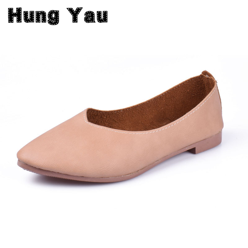 Hung Yau Women Flats Casual Solid Pointed Toe Slip-On Flat Shoes Soft Comfortable Women Shoes 2018 New Summer Style Plus Size 40 beyarne spring summer women moccasins slip on women flats vintage shoes large size womens shoes flat pointed toe ladies shoes