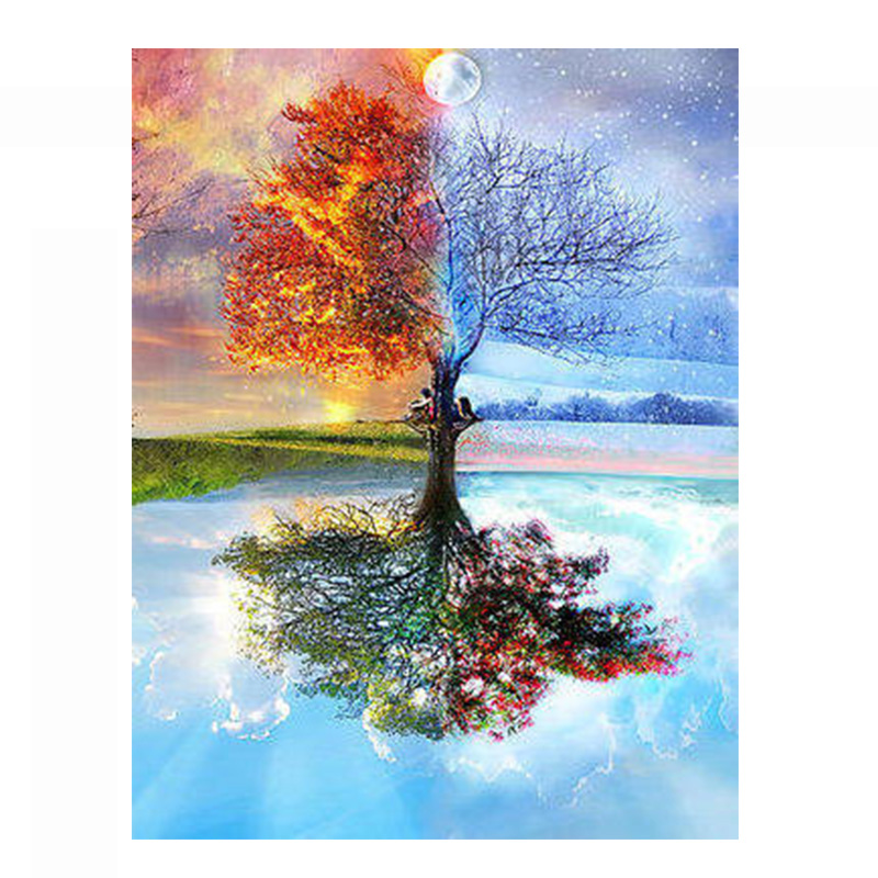 Needlework Crafts 14CT unprinted embroidery French DMC Quality Counted Cross Stitch Kit  Oil painting The tree with four seasonsNeedlework Crafts 14CT unprinted embroidery French DMC Quality Counted Cross Stitch Kit  Oil painting The tree with four seasons