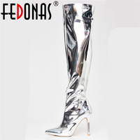 FEDONAS Fashion Brand Over The Knee High Boots Pointed Toe Sexy Tight High Dancing Shoes Woman Long Warm Winter Snow Boots