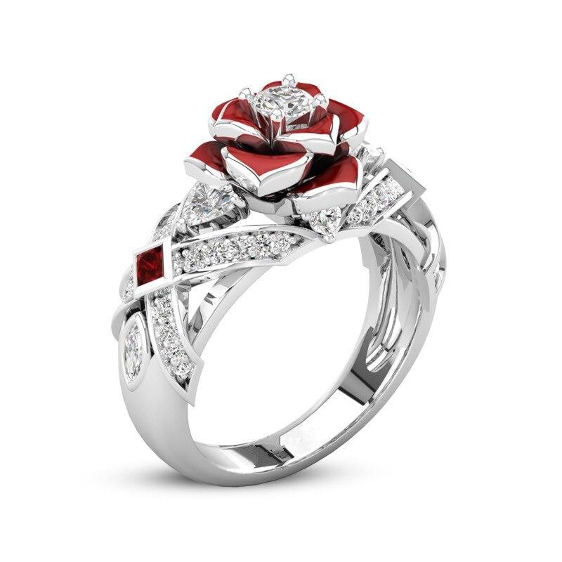 Unique Rose Promise Rings For Her Purple Rose Flower Design 1