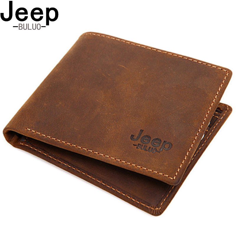 JEEP BULUO Men Wallets Genuine Leather Money Clip Natural Cow Leather Front Pocket Thin Folded Wallet Male Short Purse RFID W003