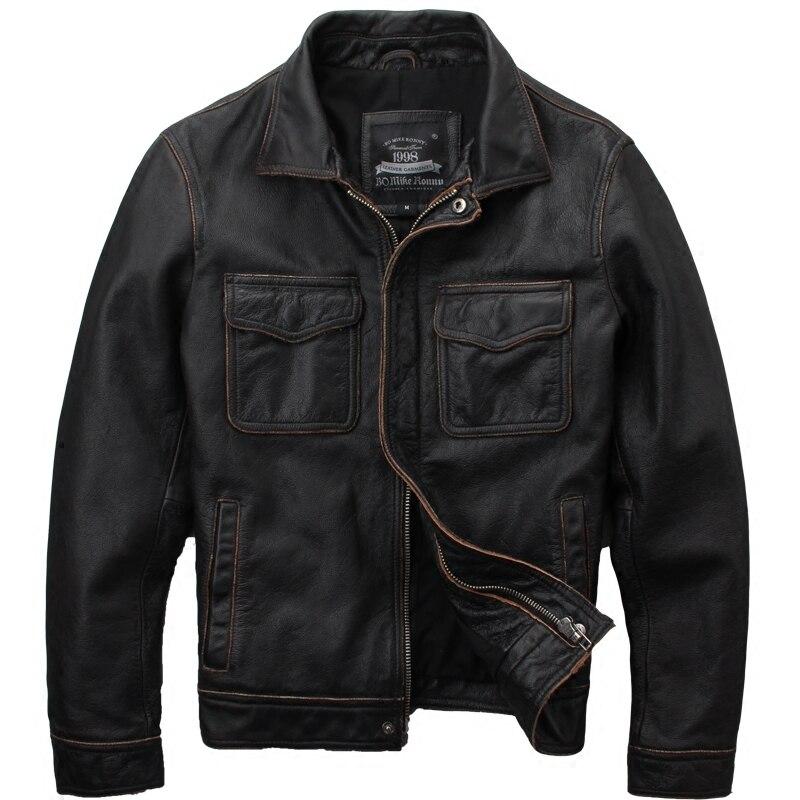 2019 Vintage Brun Hommes décontracté veste en cuir grande taille XXXXXL Double Poches Véritable Ressort De Peau de Vache Russe Manteau LIVRAISON GRATUITE