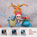 Kawaii Nendoroid Aciton Figures Ash Ketchum Charizard Venusaur Blastoise Refaced Puppets Kids Toys Gifts