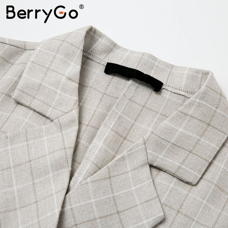 BerryGo Autumn winter women blazer dresses vestidos Pleated plaid long dress elegant Office ladies high waist belt female robe 11