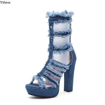 Olomm New Women Summer Denim Platform Sandals Square High Heels Sandals Open Toe Blue Black Casual Shoes Ladies US Size 3-10.5
