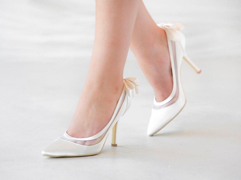 Venus lure Custom Handmade Pointed Toe High Heels Ivory Satin Bridal Wedding Shoes Dropshipping more colors custom handmade ivory lace wedding shoes for women high heeled size 9