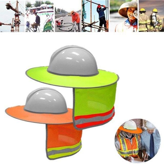Yellow Orange Hat Outdoor Construction Safety Hard Hat Sun Shade Neck  Shield Reflective Stripe Protective Helmets Shield 7185c670e6d