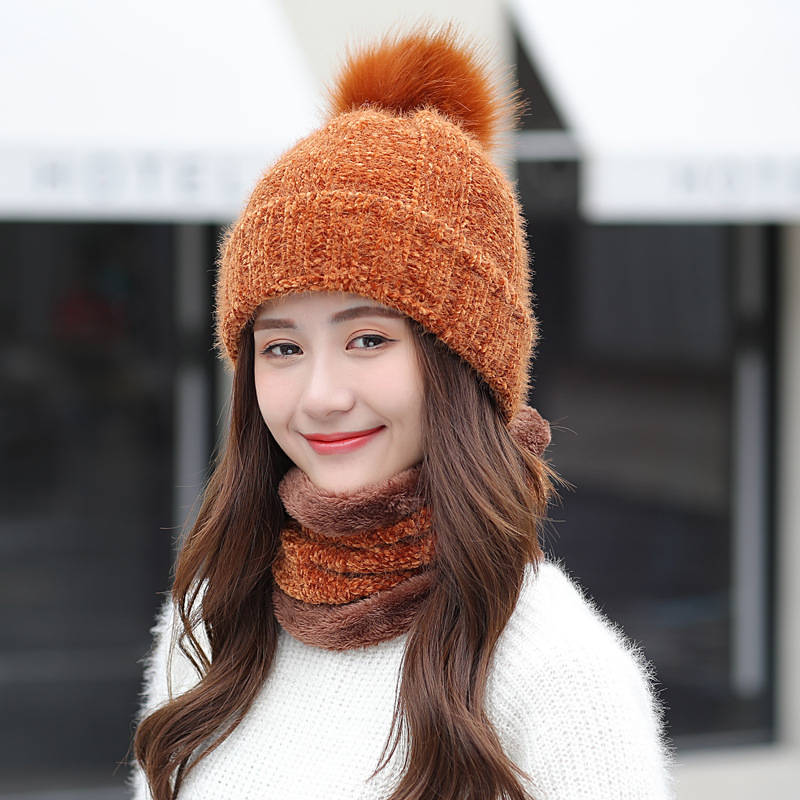 2019 New Winter Warm Women Chenille Hat Scarf Sets Lady   Beanies   PomPom Caps For Girl Thicken Knit   Skullies     Beanies   Hats Female