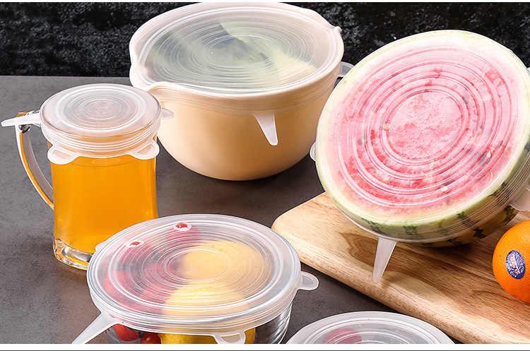6 ชิ้น/เซ็ตซิลิโคนฝาปิดยืดฝาครอบดูดทำอาหารหม้อซิลิโคน Pan การรั่วไหลฝา Stopper Home ชาม